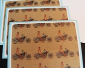 Pinup On Motorcycle Card Set