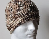 Crochet Beanie: Brown, Khaki and Cream - Men Unisex  - Hat Skullcap