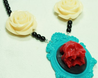 Red, Black and Turquoise 3D Skull Cameo Necklace