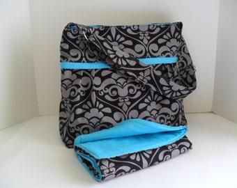 READY TO SHIP - Diaper Bag Set in Divine Damask Black/Gray - Diaper Bag - Changing Pad - Nappy Bag - Messenger - Nappy Bag