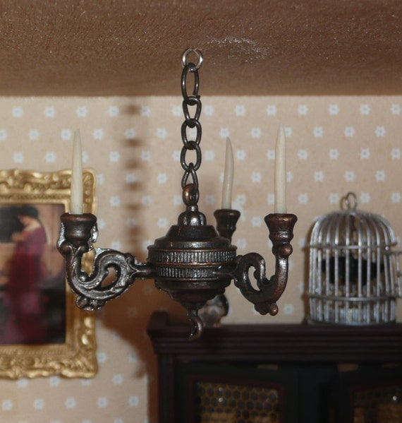 LAST ONE Dollhouse Miniature Chandelier Lamp With 3 Arms