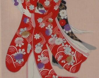 Tenugui Japanese Fabric 'Kabuki Princess' w/Free Insured Shipping