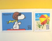 Vintage Postage Stamps Unused, Snoopy Flies to the Beach, Mail 10 Letters Cards or Party Invites, 49 cents postage 1 oz, flying Snoopy stamp