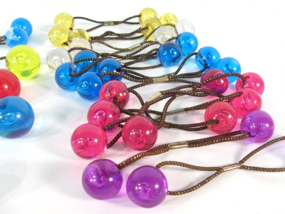 Vintage Hair Baubles Plastic Ball Hair Bands Hair