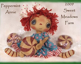 Primtive EPATTERN Peppermint Annie Doll with peppermint ornies