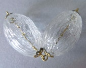 Vintage Japan Rare Hollow Blown Textured Glass Beads - Pair
