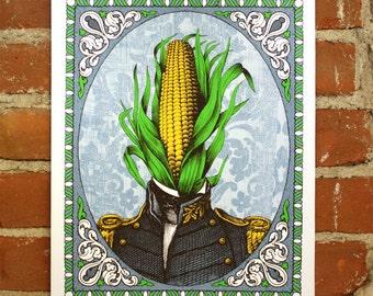 Colonel Corn- Hand-printed Art print 11x14