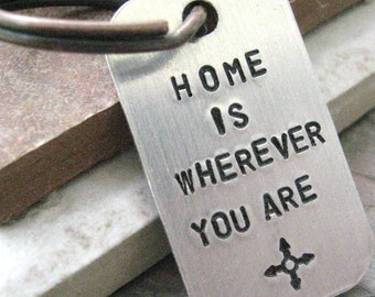 Home is Wherever You Are keychain with compass symbol, anniversary keychain, anniversary gift, optional initial disc, couples keychains