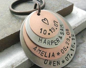 Personalized Keychain 4 Layer Keychain, 2 Metal Options, Mother's Keychain, Grandma Keychain, Family Keychain, Mother's Day Gift, Mommy