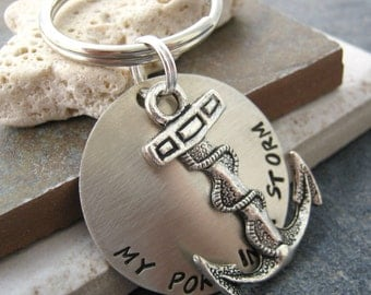 My Port In A Storm Anchor Keychain, customization available, nautical keychain, gifts under 20, please read listing for specs