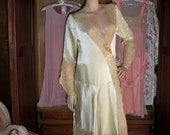 ON SALE...1920s Art Deco Boardwalk Empire 1920s French Lace And Silk Flapper Robe  Was..398.00