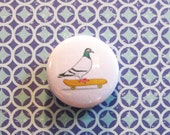 Skate On Pigeon Button, Pin, Pinback button, Skateboard, Skater