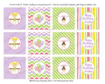 Printable Gymnastics Birthday Cupcake Toppers