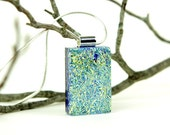 Gold Dichroic Pendant- Fused Glass Pendant- Fused Glass Necklace-Dichroic Jewelry