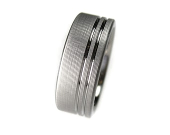 Men's Titanium Brushed Double Stripe Wedding Band Comfort Fit