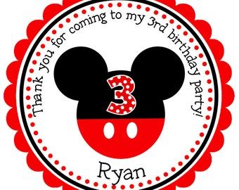 Mickey Mouse Personalized Stickers, Gift Tags, Party Favors, Address Labels, Birthday Stickers  - Set of 12