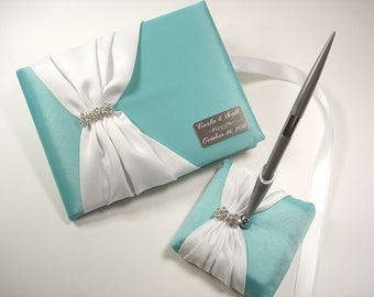 Wedding Guest Book, Aqua / Robin's Egg Blue Guest Book and Pen Set with Rhinestones and Personalized Engraving