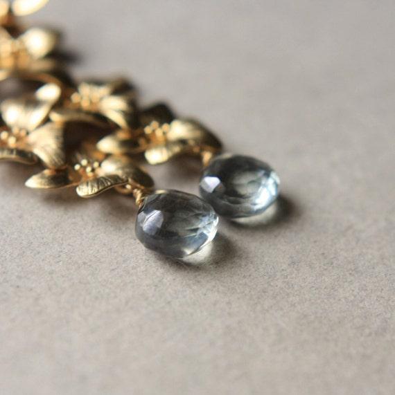 Gold Flower Earrings, Quartz Dangle Earrings, Long Gemstone Briolette Earrings, Floral Jewelry