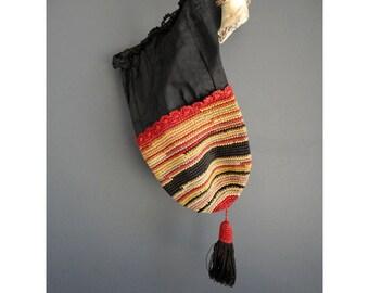 Flash Sale - Edwardian Crochet Bag - Black Gold and Red -