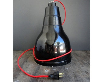 Black Industrial Hanging Lamp With Red Fabric Cord -