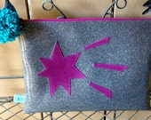 Mod Glitter Vinyl Zippered Project Pouch: Gunmetal Glitter & Purple Starburst