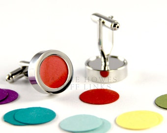 Cuff Links with pre-cut colorful archival paper inserts. Wedding Accessory for the Groom. Annie Howes.