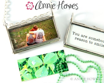 Photo Frame Locket. Horizontal with Two Loops.