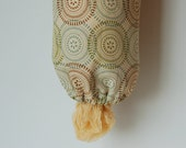 Grocery Bag Dispenser - Fabric Beige, Brown, Blue and Green
