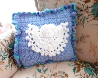 Angel Tooth Fairy Pillow Hand Crocheted  Unique