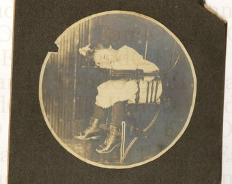 Very Early Kodak Style Circle Photo Print 1890s Sleeping Toddler in Highchair