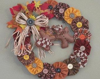 Mr & Mrs Gingerbread on YoYo Fall Wreath
