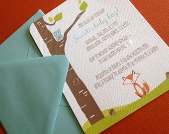 Woodland- shower invitation, set of 10