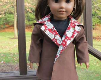Brown Corduroy & Snowmen coat for American Girl / 18 inch doll