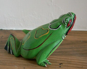 Carved Wooden Green Frog Figurine Indonesian Folk Art
