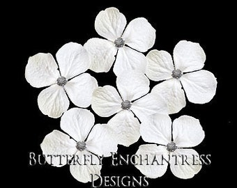 Bridal Hair Flowers, Gray Wedding Accessories, Bridesmaid Gift - 6 White Hydrangea Hair Pins - Grey Rhinestone Centers