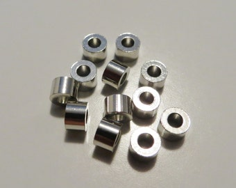 4 mm Silver Metal Cylindrical Tube Beads - 12 pieces
