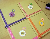 PIF Set of 4 mini kraft greetings cards or notecards blank inside for your own message with envelopes PIF