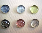 Set of six security pattern glass pebble fridge or kitchen magnets / made to order
