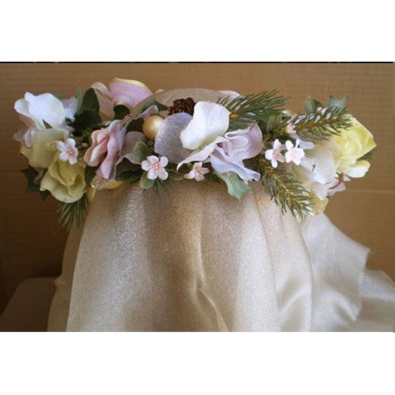 floral head wreath Winter Solstice Yule Christmas wedding bridal renaissance costume