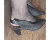sling back shoes / denim shoes / vintage heels 7