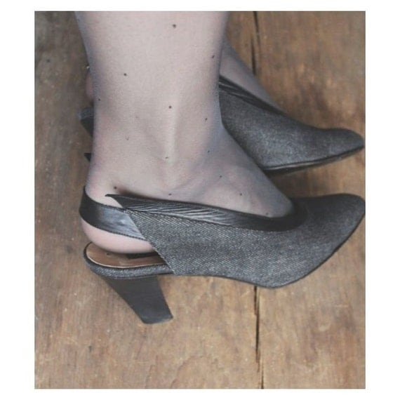 sling back shoes / denim shoes / vintage heels 7