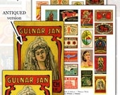 Antique Matchbox Labels -- 2.1 in x 1.3 in (54mm x 34mm) digital collage sheet set TWO SHEETS