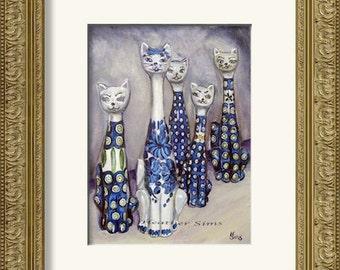 Polish Pottery Cat, still life art, cat print, giclee kitchen art print,  Heather Sims, size and mat OPTION