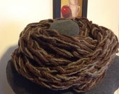 Bulky Arm Knit Infinity Mixed Browns Scarf