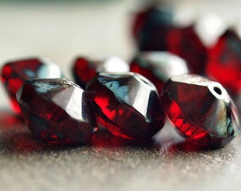 Ruby Red Picasso Czech Glass Bead 7x11mm Saucer : 6 pc