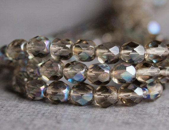 Black Diamond AB Czech Glass Bead 6mm Firepolish  Round : 25 pc