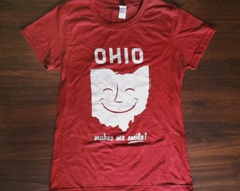 Women's OHIO Makes Me Smile cute T-shirt, Missy Fashion Fit, Girls red graphic tee, Ladies style shirt