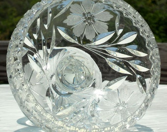 Lead Crystal Candy Dish with Engraved Flowers, Leaves and Stars - Beautiful!