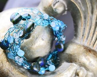 Beaded Bracelet, Crystal Bracelet, Wire Bracelet, Blue Bracelet, Wire Wrapped Bracelet