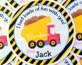 Construction Dump Truck Birthday Party Favor Tags or Stickers / Personalized / Set of 12